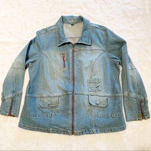 Vintage LA Blues Faded Jean Jacket Zippered Sleeve